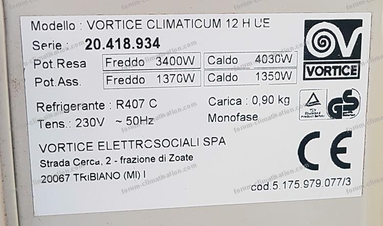 plaque signalétique clim vortice climaticum