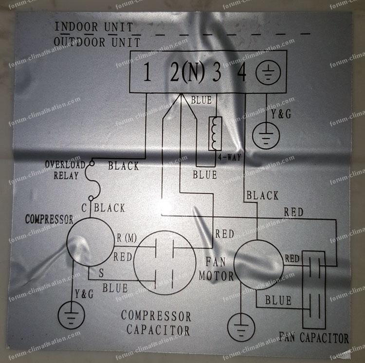 Schéma câblage électrique unité intérieure