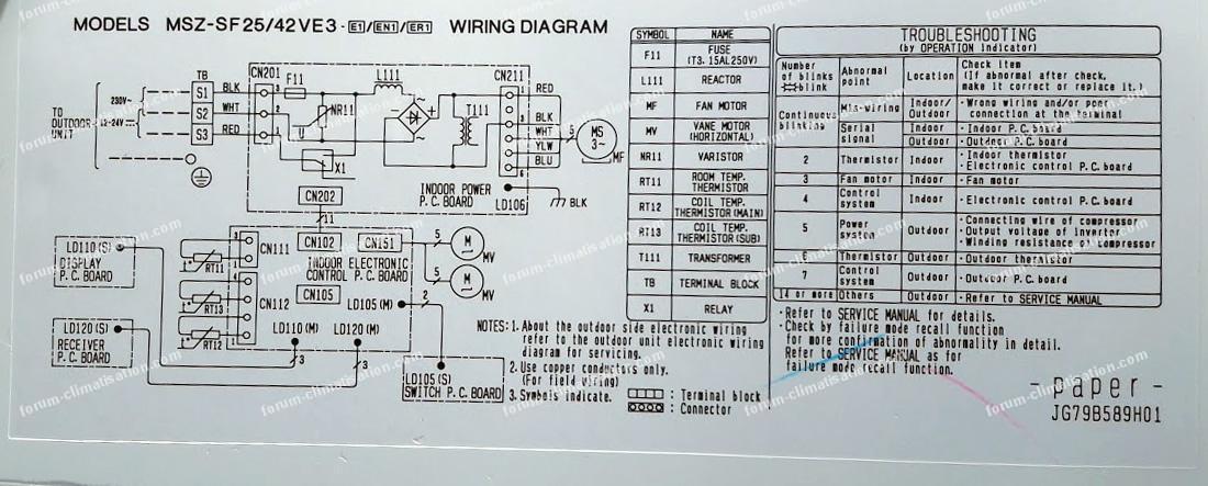 diagramme électrique climatiseur Mitsubishi-Electric
