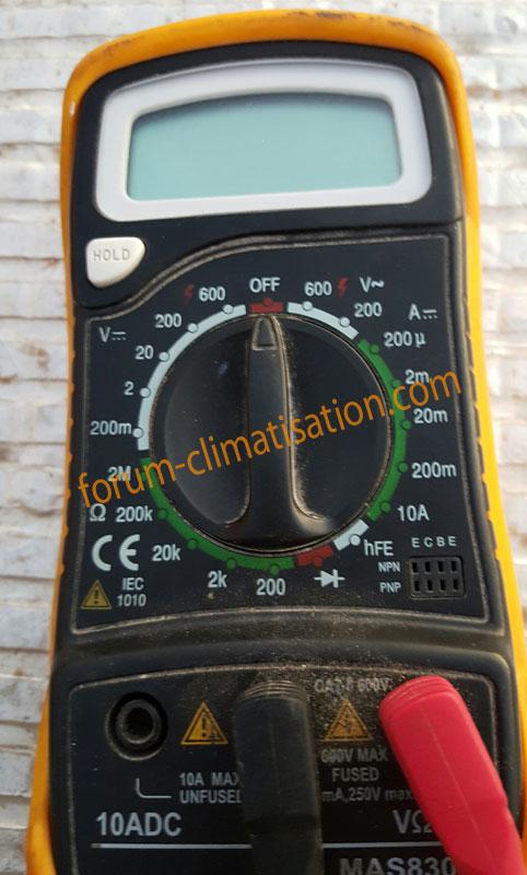 Mesure multimètre en mode voltmètre DC