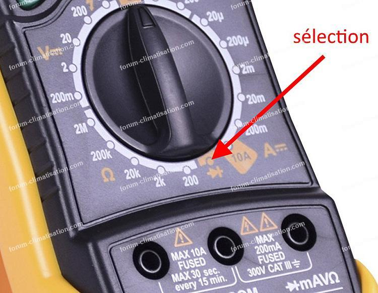 multimètre symbole test diode