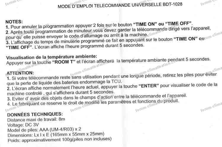 notice commande universelle bdt 1028