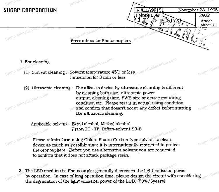 problème optocoupleur Sharp PC 817