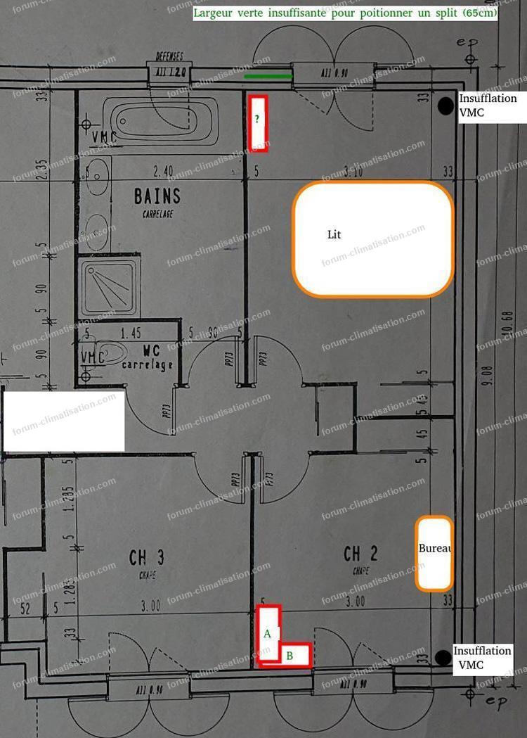 plan chambre pour pompe à chaleur air air