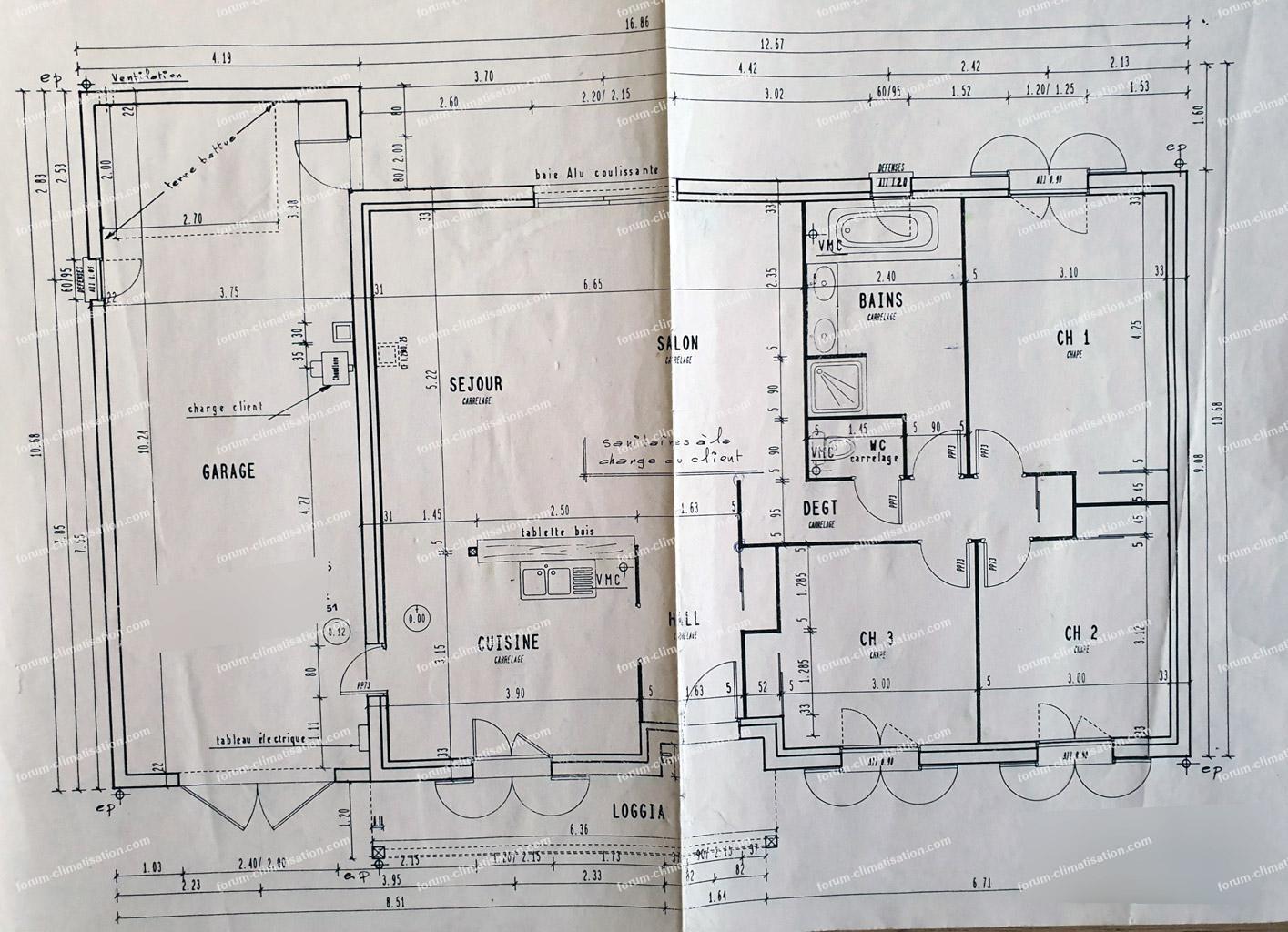 plan installation split chambre