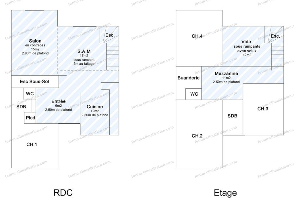 plan maison installation bi-splits