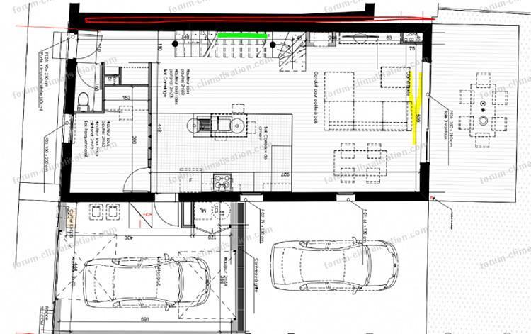 plan maison installation PAC Mitsubishi