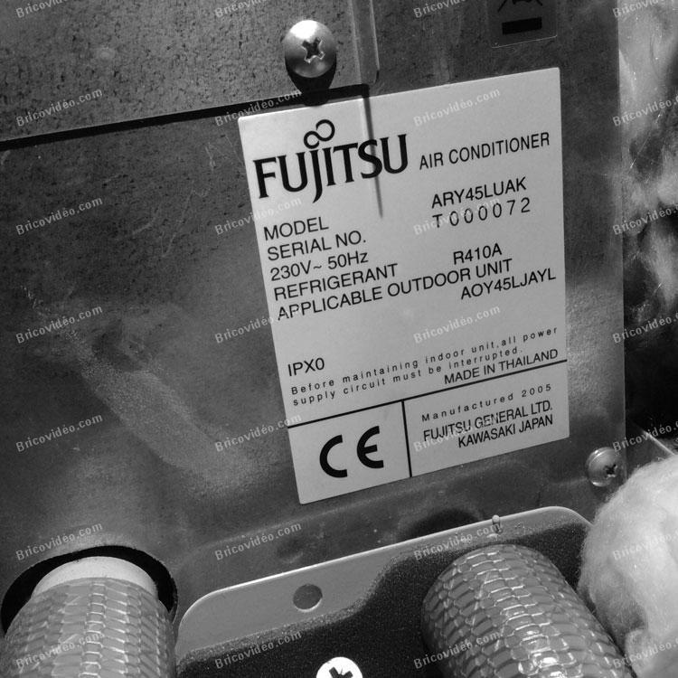 plaque signalétique clim Fujitsu AOY45LJBYL