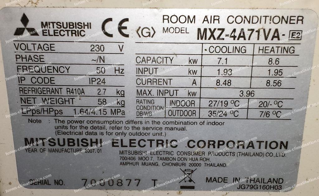 plaque signalétique clim Mitsubishi