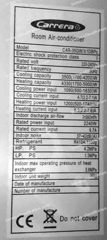 Plaque signalétique climatisation Carrera