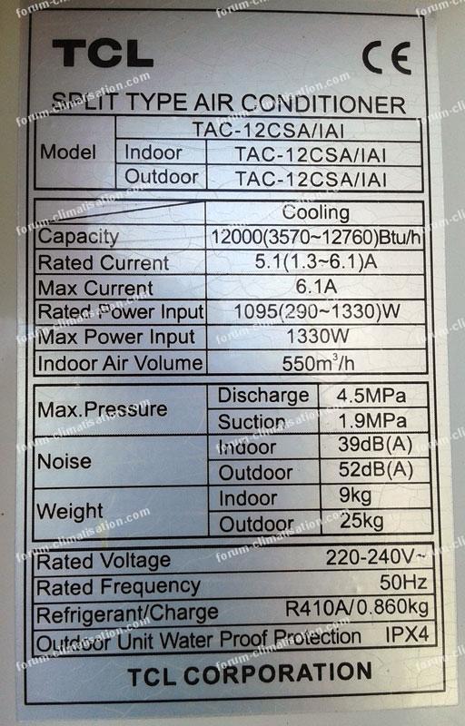 plaque signalétique climatiseur Inverter TCl