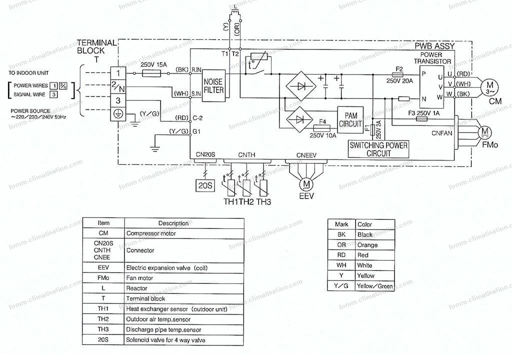 schema carte electronique unite exterieure mitsubishi