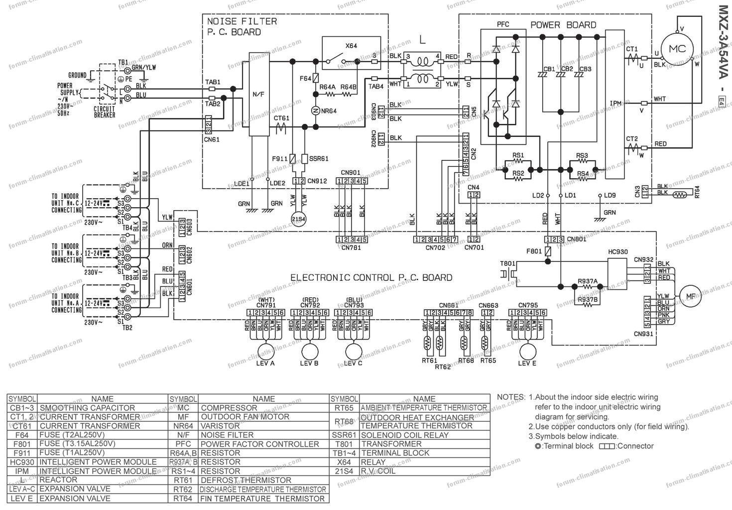 schéma électrique clim Mitsubishi MXZ-3A54VA