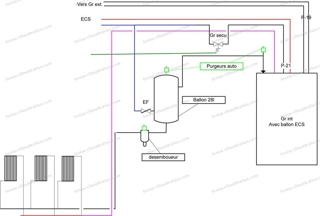 schéma installation chauffage pac hitachi