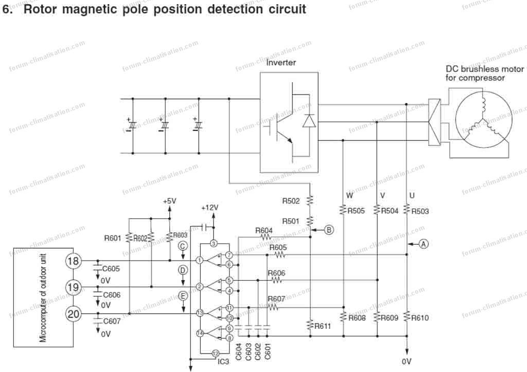 schéma partiel circuit détection position pole du rotor compresseur